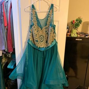 Green and gold formal gown